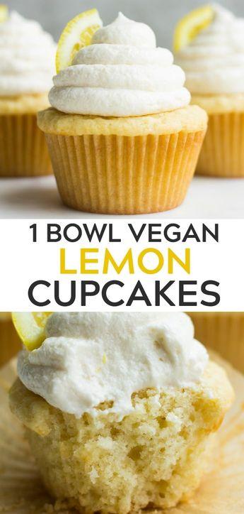 1 Bowl Vegan Lemon Cupcakes, easy to make, moist, fluffy and full of lemon flavor! #vegan #plantbased #dairyfree