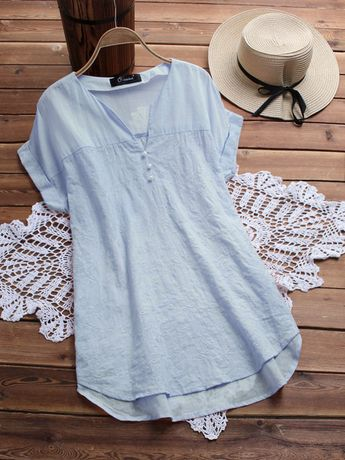 Fashion Embroidery V Neck Blouses for Women