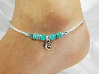Anklet Ankle Bracelet, Sea Shell Coil Charm, Semi Precious Turquoise Green, Jade Swarovski Crystal, Magnesite, White, Beaded, Beach Vacation