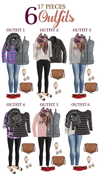 Five Day Getaway Fall Packing List: 17 pieces, 6 outfits