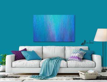 Blue abstract wall art, Teal purple aqua, Large canvas print for bedroom, or bathroom