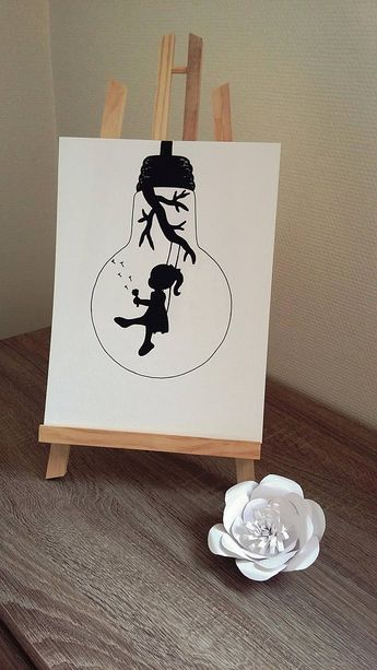 """Affiche Illustration Noir et blanc ampoule """" envole-moi """""""