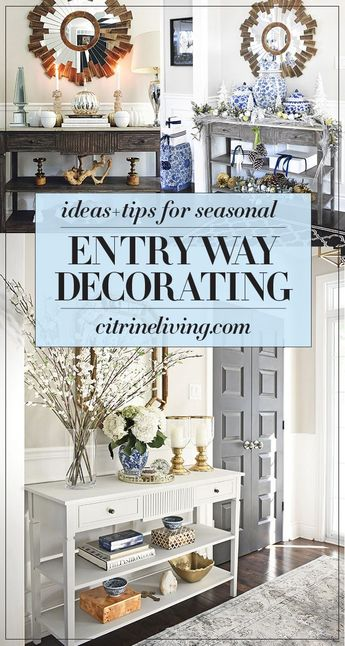 Sseasonal and holiday decorating tips and ideas for your front entryway that will take you through the whole year! #decor #entryway #entrywayideas