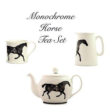 05d6d04b97312 www.equista.pl | Monochrome Horse Tea Set | Zestaw do herbaty z motywem
