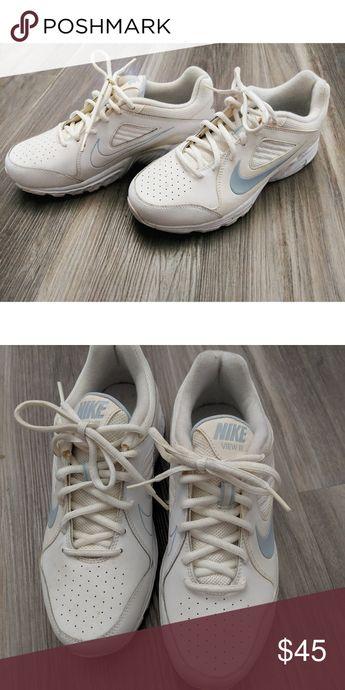Nike tennis shoes White, ivory, and Carolina blue, like new Nike Shoes Sneakers
