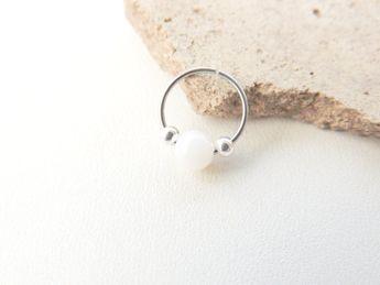 Mère de perle pierres précieuses perles Cartilage boucle d'oreille, sans fin, créoles de Cartilage, Tragus Rook Helix boucle d'oreille, boucle d'oreille Cartilage. 634