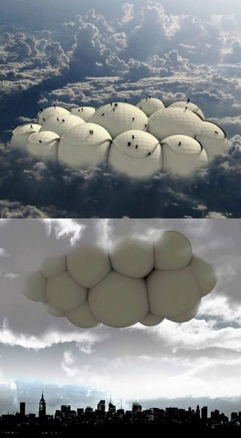 Forghet about conventional ways and travel by artificial clouds. This is a interesting concept...
