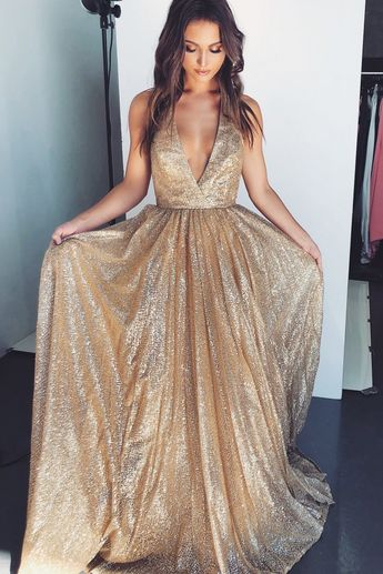 A-Line Halter Long Prom Dress with Sequins Backless Champagne Evening Dress