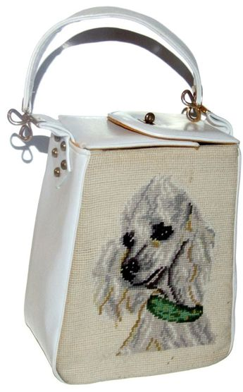 Reserved For Norell Patrick Vintage Rare Poodle Purse Needlepoint Handbag Very Unique