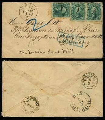 USA - c.1858 (14 Feb). Chili / Ohio - Germany. Valentine day. Fkd env 10c green (x3). Mns cross cancel + tied red NY / 7c paid. Via Prussian closed mail. VF+. A nice hot item.  Dealer Antonio M. Torres Shop  Fixed price: 675.00 US$