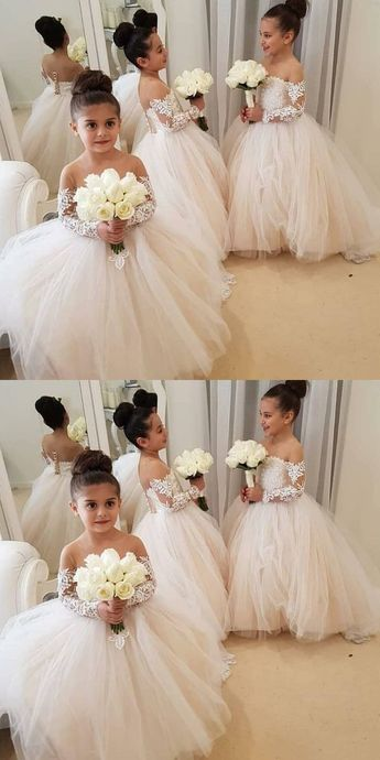 long sleeves flower girl dress, pink flower girl dress, long flower girl dress