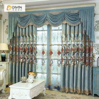 DIHIN HOME Blue Flowers Exquisite Luxury Embroidered Valance ,Blackout Curtains Grommet Window Curtain for Living Room ,52x84-inch,1 Panel