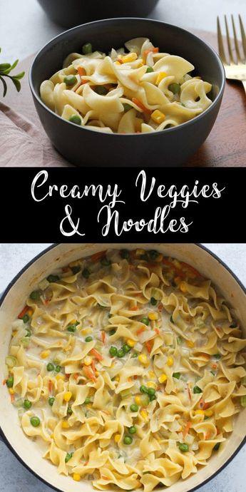 Légumes et nouilles crémeux
