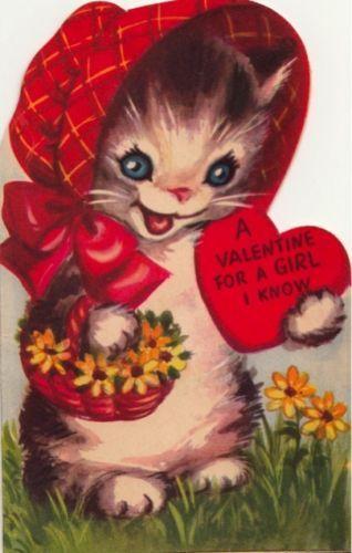 ffb3614421b7 Vintage Greeting Card Valentine Cat Marjorie Cooper L110