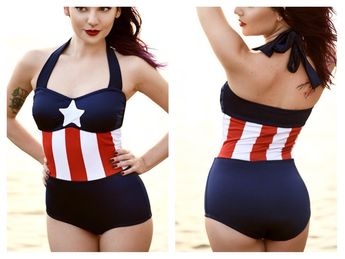 Geeky Swimsuits | Captain America Swimsuit {Marvel} #geekchic - Visit to grab an amazing super hero shirt now on sale!