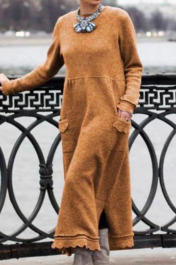 Daytime Solid Lace Trim Pockets Slit Maxi Dress