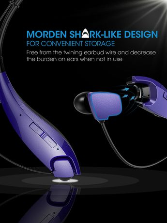 Experience immersive hi-fi sound quality in total comfort and wireless versatility. These neckband wireless headphones feature over-ear cushioning that amplifies the robust sound quality while quick and simple connection allows you to listen to audio from any device you own. Connect with smartphones, tablets, laptops, TVs and other Bluetooth-enabled devices, or use it wired and plugged in. Boasts a long-lasting battery life and a built-in mic that makes it perfect for gaming and hands-free.