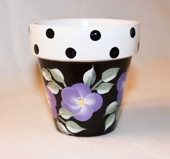 Hand Painted Flower Pot, Lavender and Polka Dot