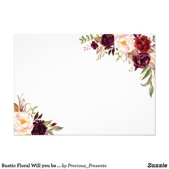 Rustic Floral Will you be my bridesmaid | 2 sided Invitation | Zazzle.com