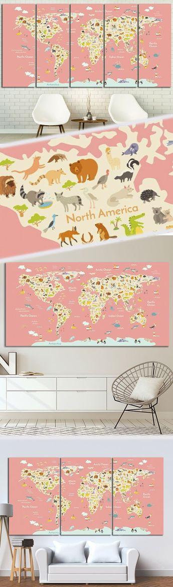 Peach nursery World Map Wall Decor - Genevieve Deschenes - #Decor #Deschenes #Genevieve #Map #Nursery #Peach #Wall #World