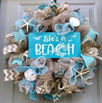 Life's A Beach Wreath, Seashell Wreath, Beach Wreath, Beach House