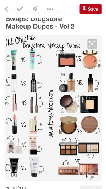 Expensive VS drugstore makeup dupes! GIRLS AND GUYS CHECK THIS OUT AND REBLOG TO SAVE SOME MONEY FOR OTHERS📲