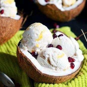 Coconut Milk Ice Cream w/ Mango Swirl. This ice cream uses coconut milk for a super creamy, flavorful, & refreshing ice cream! (Also vegan!)