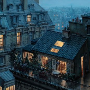 Enchanting Paintings Capture the Twinkling Rooftops of Paris at Twilight