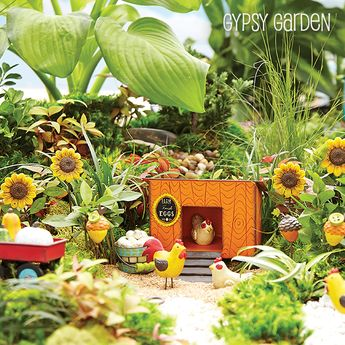 """Genevieve Gail for Studio M """"Gypsy Garden"""" Collection - What's New for January 2014 in Miniature Gardening #Gypsy #Mini #Miniature #Fairy #Garden #Genevieve #Gail #Magnet #Works #Studio #M #Chickens #Chicken #House #Sunflowers #Eggs #Plants #Wagon"""