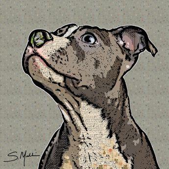 Pit Bull Dog Art Pop Art Pattern Artwork Print or Canvas