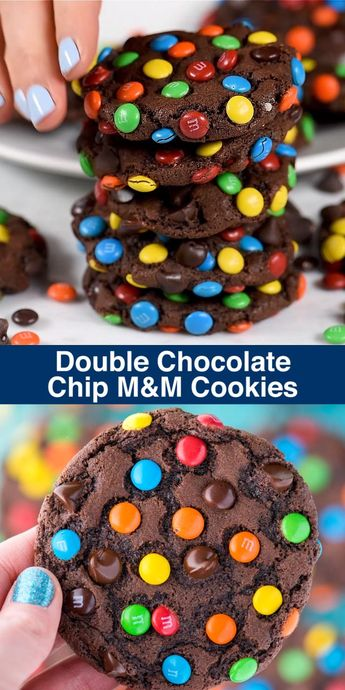 Double Chocolate Chip M&M Cookies #chocolate #cookies #double