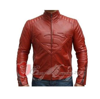 Superman Movie Celebrity Replica Red Genuine Leather Jacket with Padded Shoulder