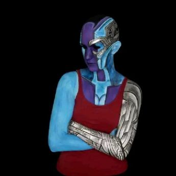 Quick time lapse of a 6 hour makeup.  I also tossed in the removal because it's silly. @maggiebrink was patient enough to let me paint her into Nebula! The eyes are edited/filled in black. Everything is paint, no prosthetics. Enjoy!  nebula  nebulamakeup  guardiansofthegalaxy  guardiansofthegalaxymakeup  volumeone  avengers  endgame  avengersmakeup  endgamemakeup  endgamenebula  nebulaendgame  marvel  marvelmakeup  gamorassister  sister  thanosdaughter  pieces  parts  makeuptransformation  diypr