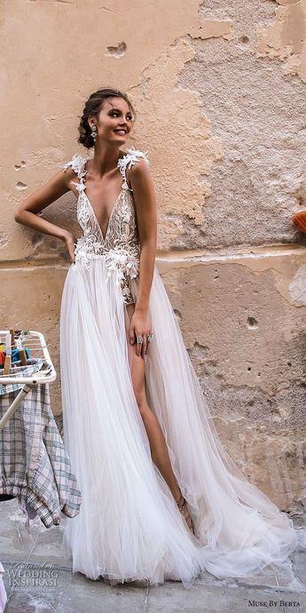 fee3ec9517a5 muse berta 2018 bridal sleeveless deep v neck heavily embellished high slit  tull