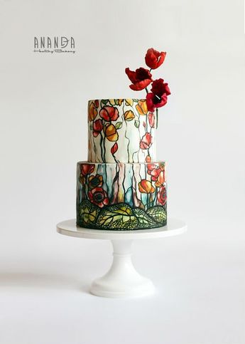 Hand Painted Cake Art on a White 12 inch Cake Stand