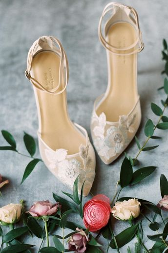 Claire Pettibone for Bella Belle Freya floral wedding shoes with embroidered tulle, silk stiletto and double ankle strap. #clairepettibone #bellabelleshoes #bridalshoes #shoes #blueshoes #bridalaccessories