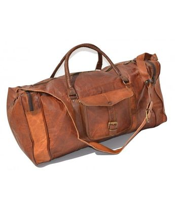Duffel Bag Genuine Vintage Brown Leather Goat hide 24