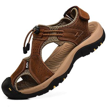 Men's Closed Toe Walking Fastening Trekking Sport Shoes Leather Sandals - Brown - CG184WM0WDL - Men's Shoes, Athletic, Sport Sandals & Slides  #Sports #shoes #MensShoes  #AthleticShoes #sportsshoes #Sport Sandals & Slides