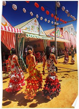 'Feria de Abril, Sevilla' Poster by Paul Webb