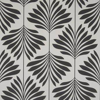 W0003-4 Leaf/Foliage/Vine Black/White by Clarke & Clarke