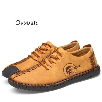 Ovxuan 100% Genuine Leather Handmade Loafers Soft Cowhide Shoes Classic Italian Moccasins Man Flats Casual Leather Shoes
