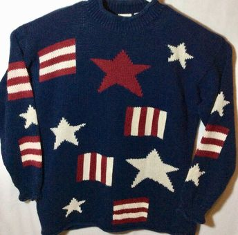 31b568d6 Womens County Seat Nuovo Sweater Flag/Stripes Red/White/ Blue Sz M Nice