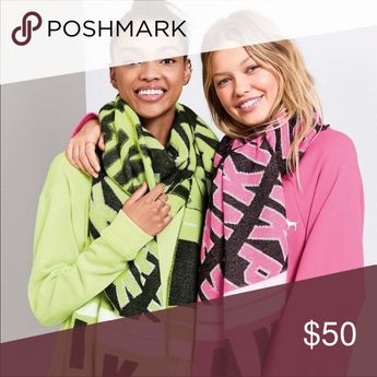 2 NWT VS PINK Blanket Scarfs Brand new with tags One is pink the other is lime green PINK Victoria's Secret Accessories Scarves & Wraps