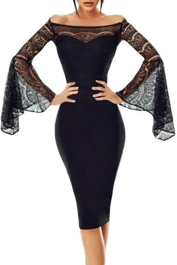 Chic Black Lace Bell Sleeve Off Shoulder Bodycon Party Dress