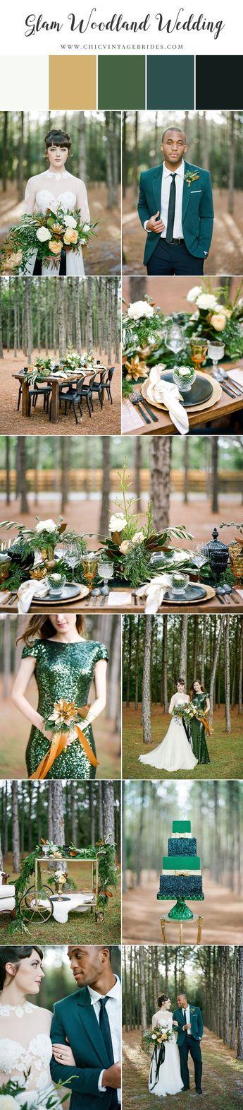 Glamorous Green & Gold Woodland Wedding Inspiration
