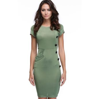 bd2550492b3 Green New Vintage Design Bodycon Fitted Party Pencil Shift Sheath Button  Work Dresses