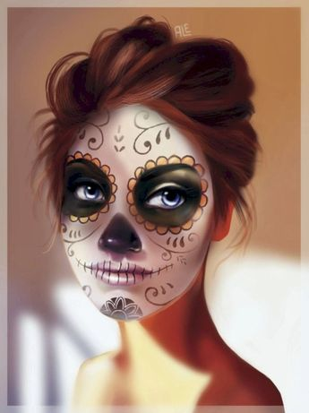 50+ Gorgeous Skull Makeup ideas To Try 2018 Halloween