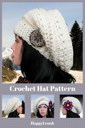04f96c295a5 DIY hat pattern Easy crochet beanie tutorial Crochet beret Slouch beanie  pattern Crochet slouchy hat pattern