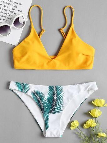 ZAFUL Leaf Print Bikini Set
