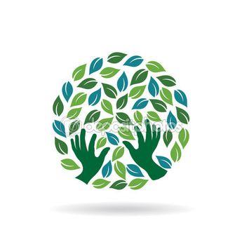 Green Care  Hands Logo. Vector graphic design illustration — Stock Vector #117530134